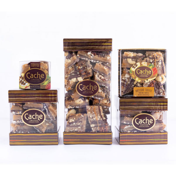 5 sizes of buttery creamy crunchy toffee