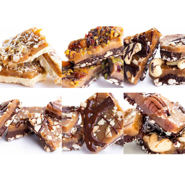 All six cache toffee gift box flavors