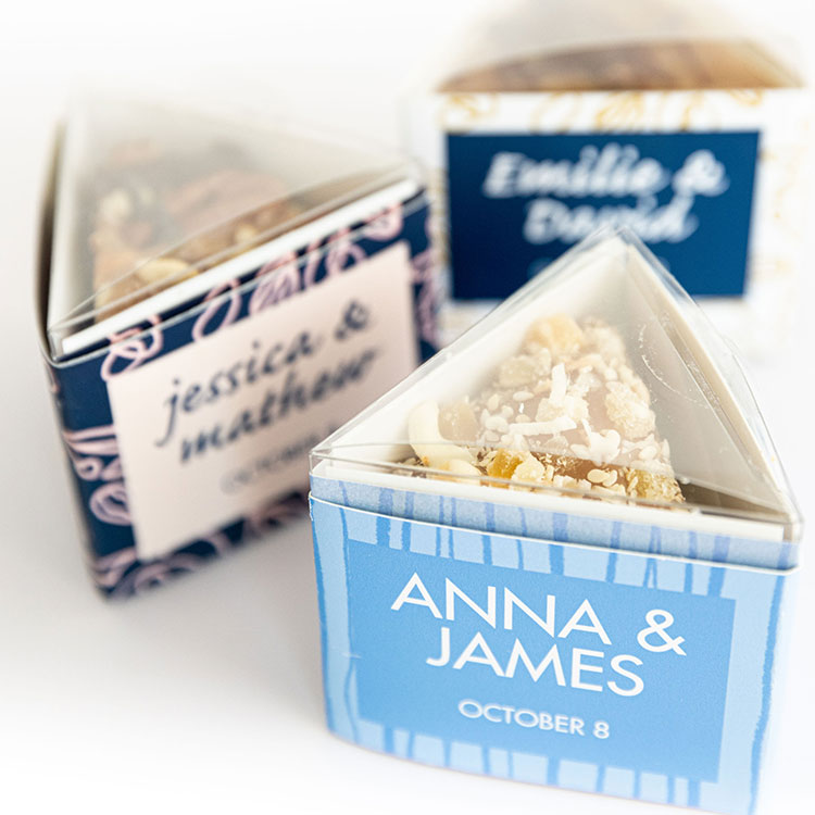 Cache Toffee custom labels wedding gift boxes